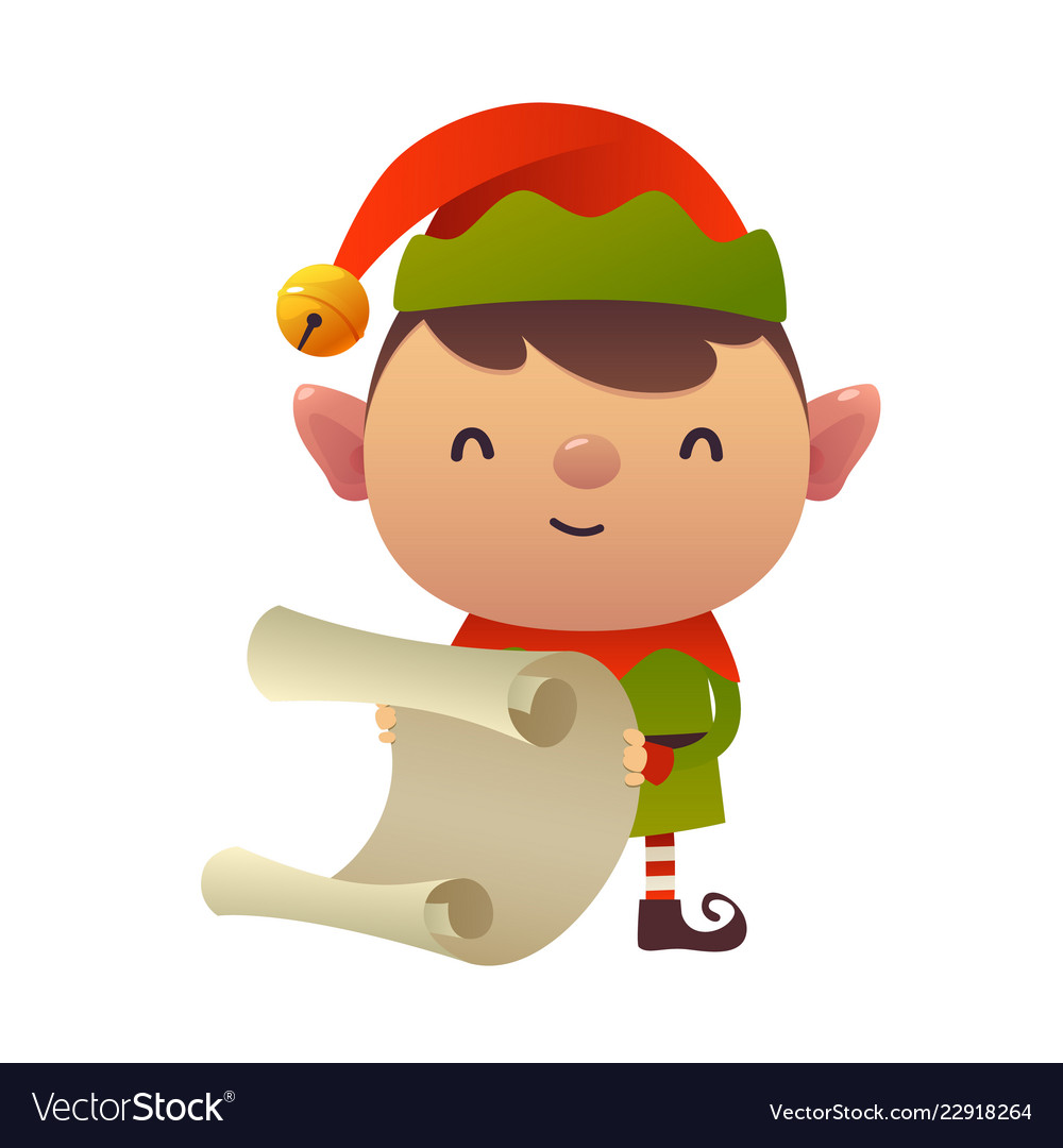 Cute cartoon christmas elf reads paper letter
