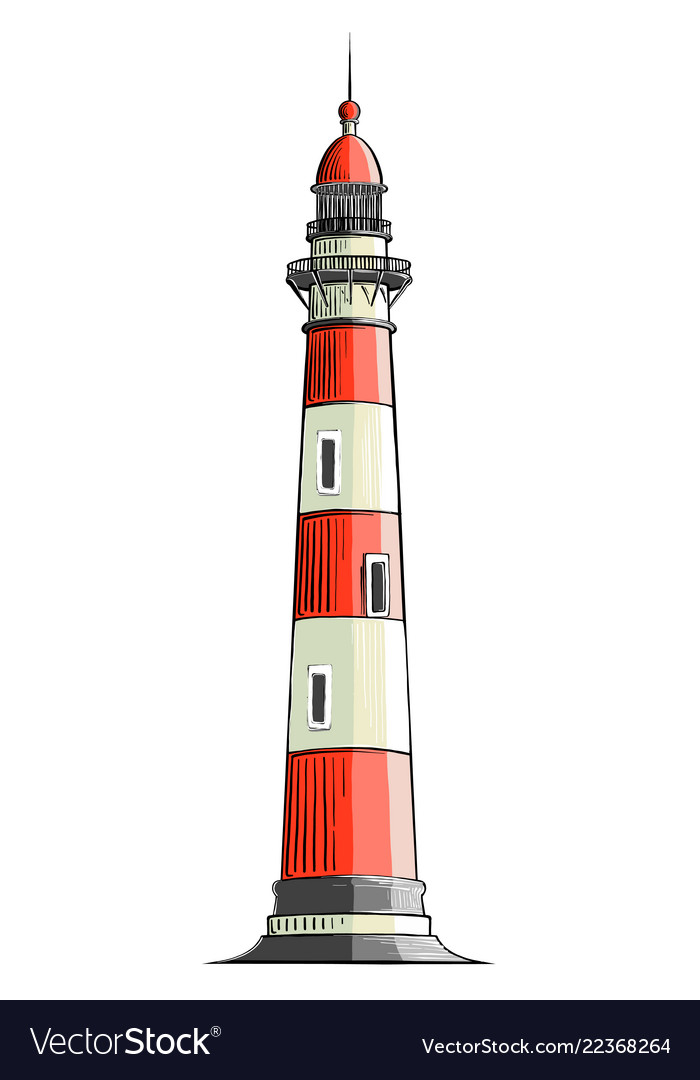 Hand drawn sketch of a lighthouse in color