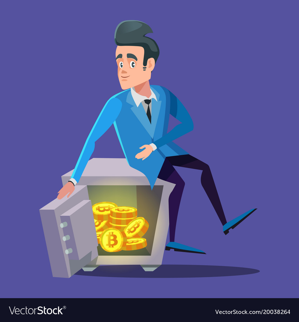 Happy businessman sitting on safe full of bitcoin