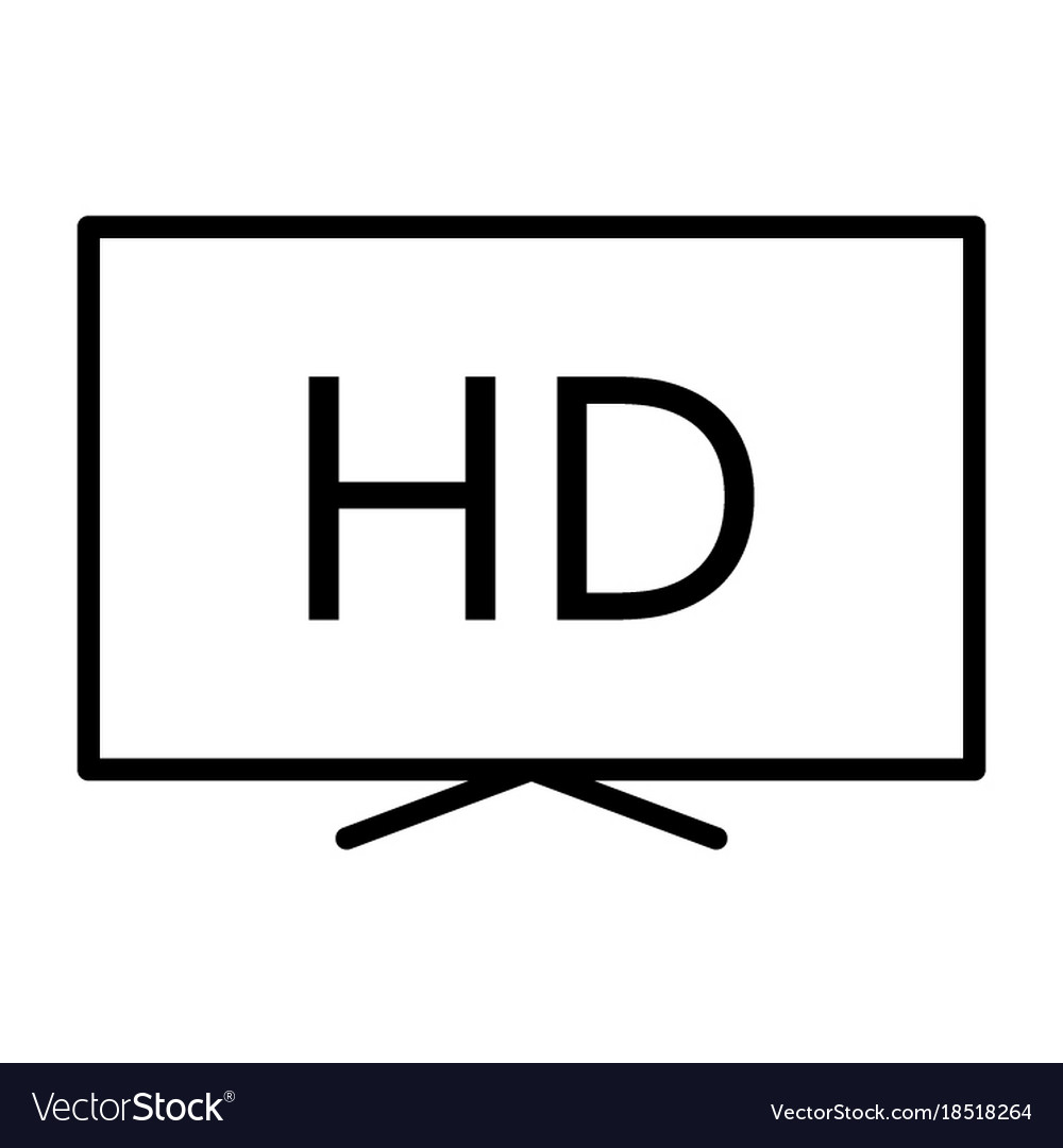 Hd television line icon tv video symbol