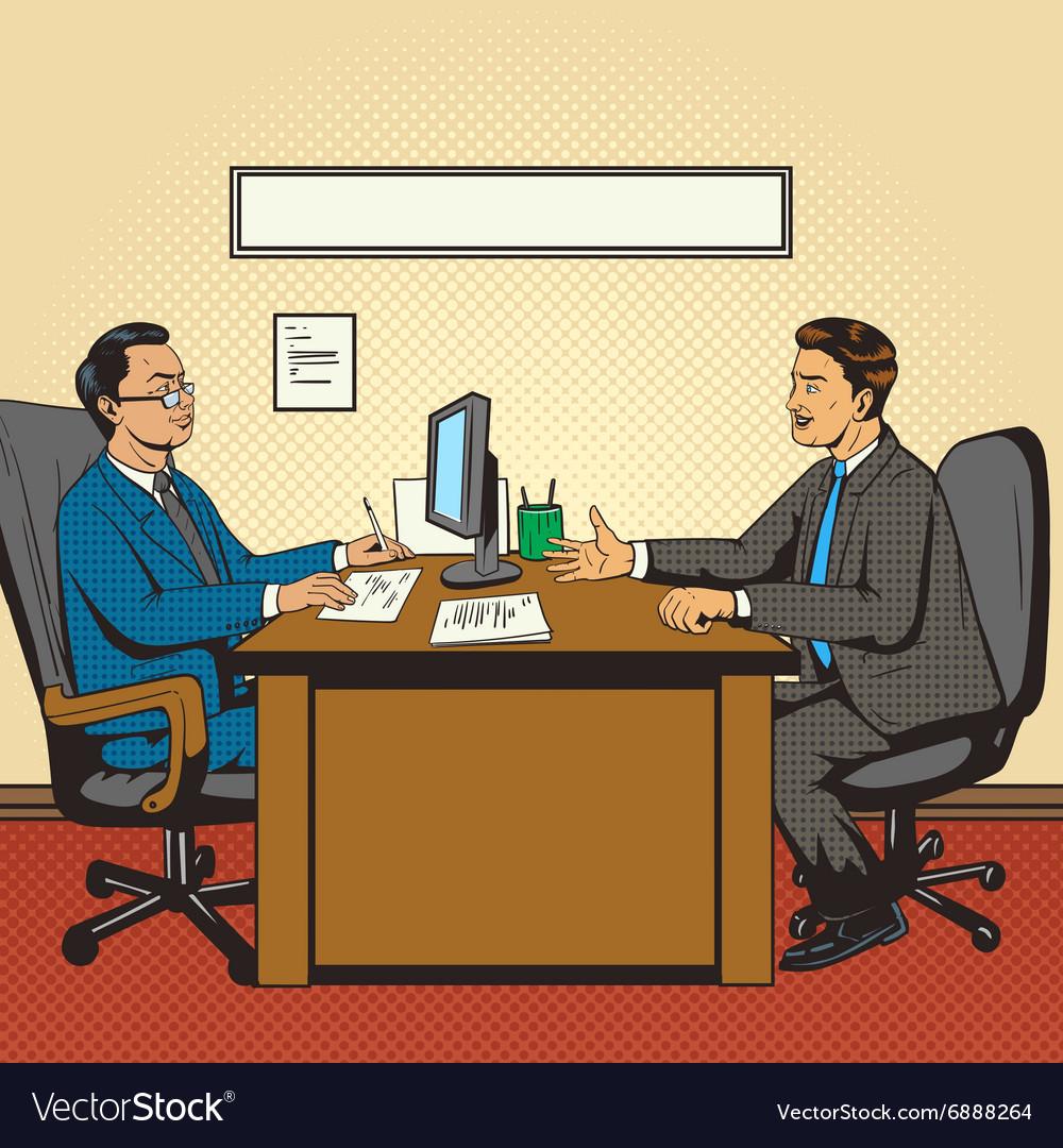 Men in office talk pop art retro style