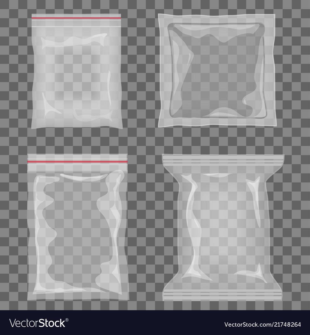 Realistic transparent empty plastic food