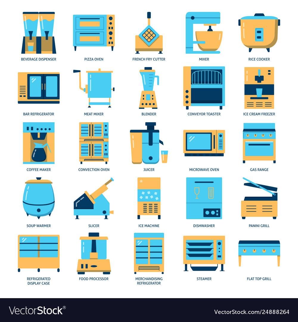 Restaurant kitchen equipment icon set in flat