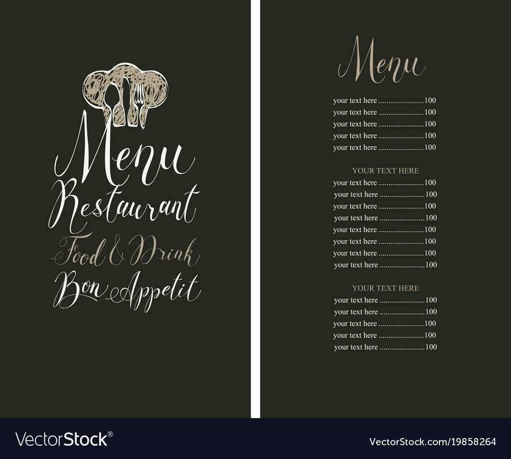 Restaurant menu with price list toque and cutlery