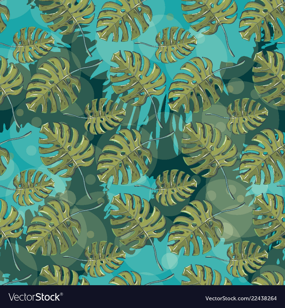 Seamless pattern with monstera leaves on a