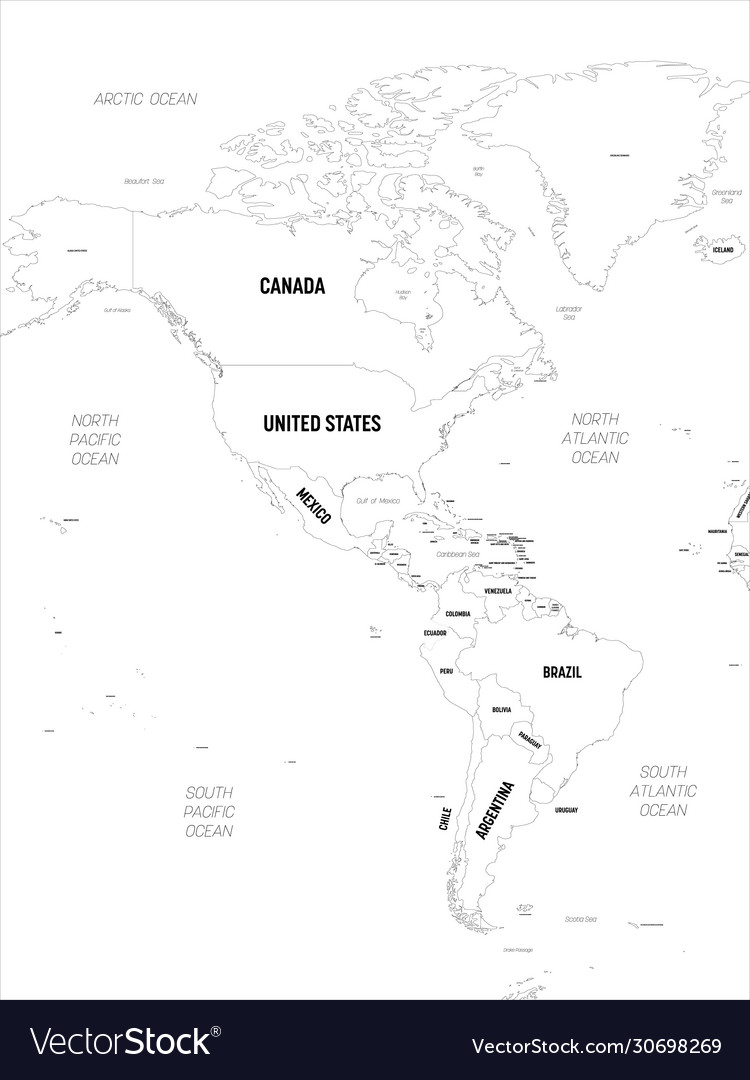 Image of: Americas Map High Detailed Political Map North Vector Image
