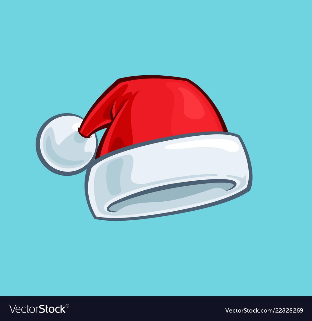Christmas Hat Cartoon.Christmas Cartoon Icon Red Santa Hat