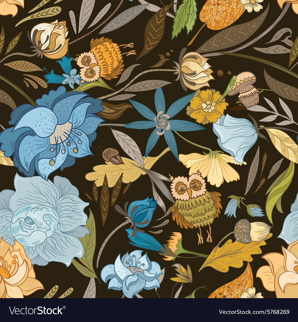 Creative Autumn Blue Pattern vector image
