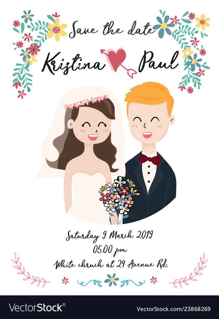 Cute wedding card with couple in flower wreath