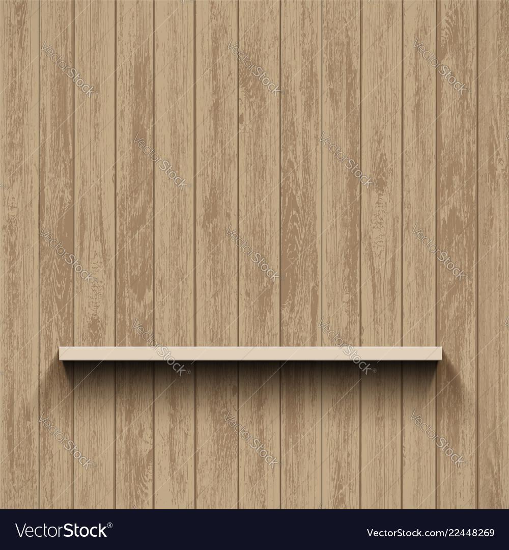 Empty shelf on wooden wall template background