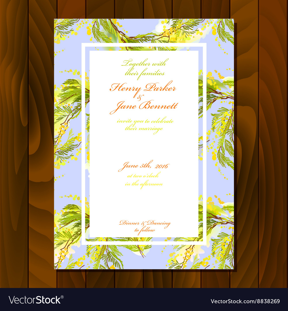 Floral wedding invitation Royalty Free Vector Image