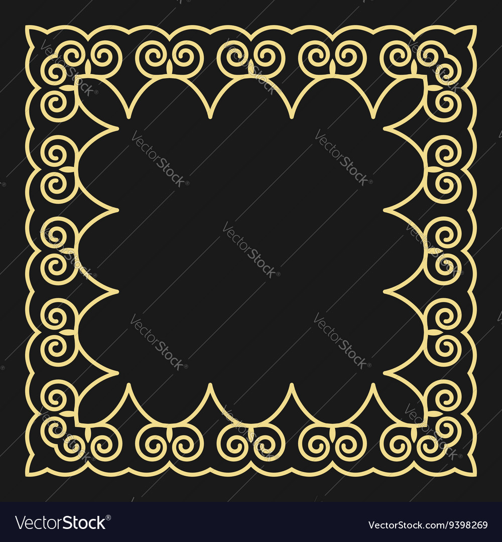Frame in the fashionable outline style on a black