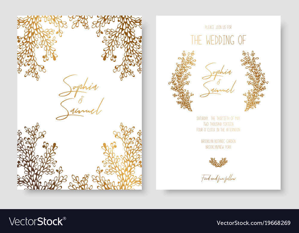 Gold Invitation With Floral Branches Gold Cards
