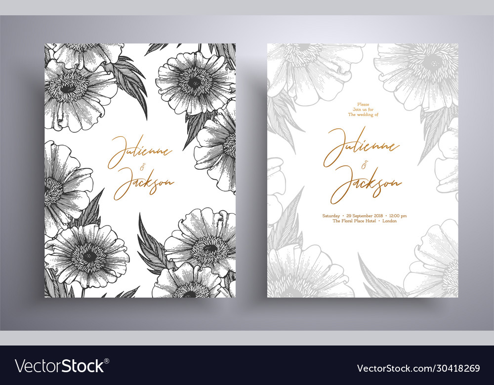 Golden invitation with frame leaves and flowers