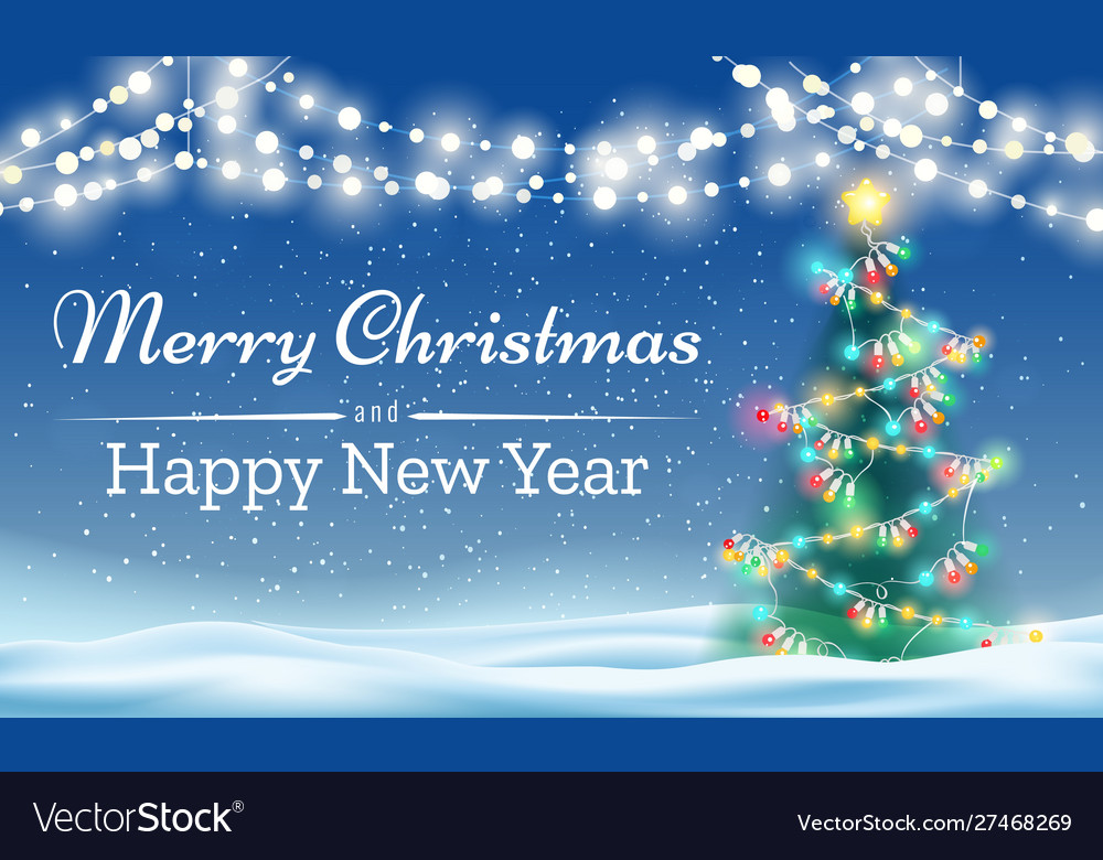 Merry christmas tree outdoor background