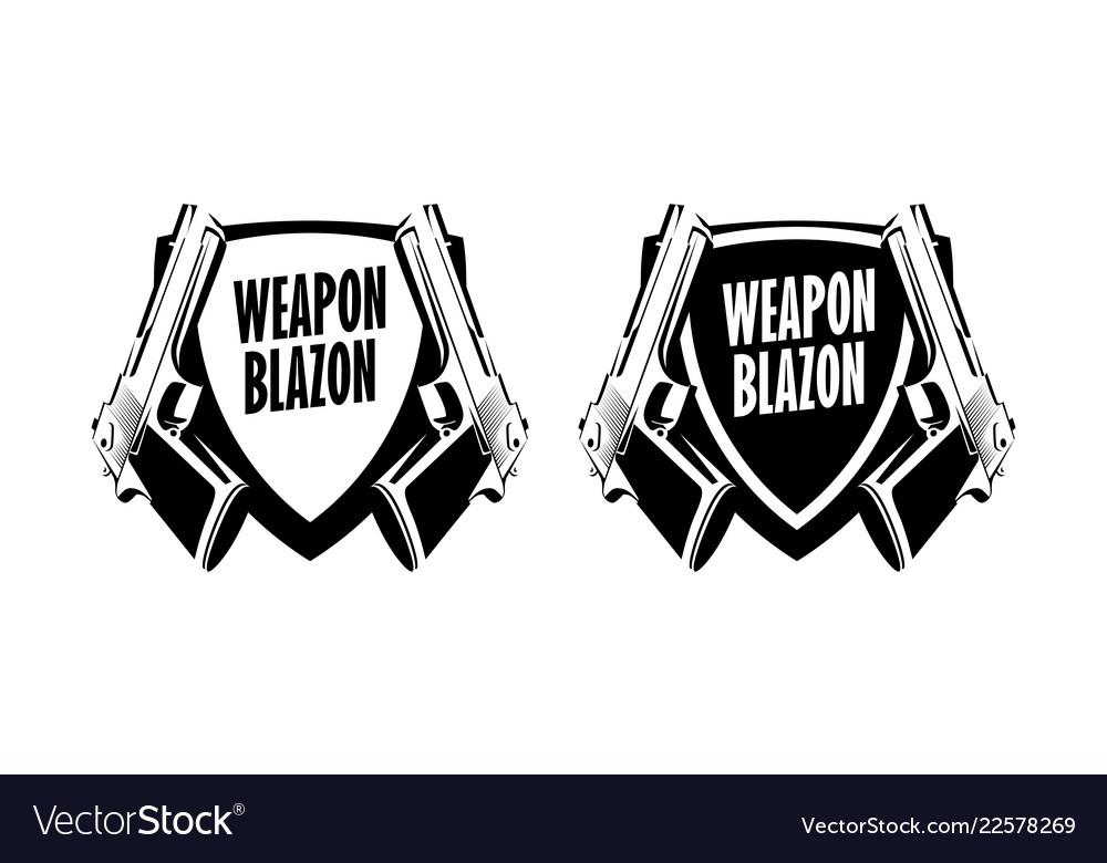 Pistol weapon logo label emblem - badge