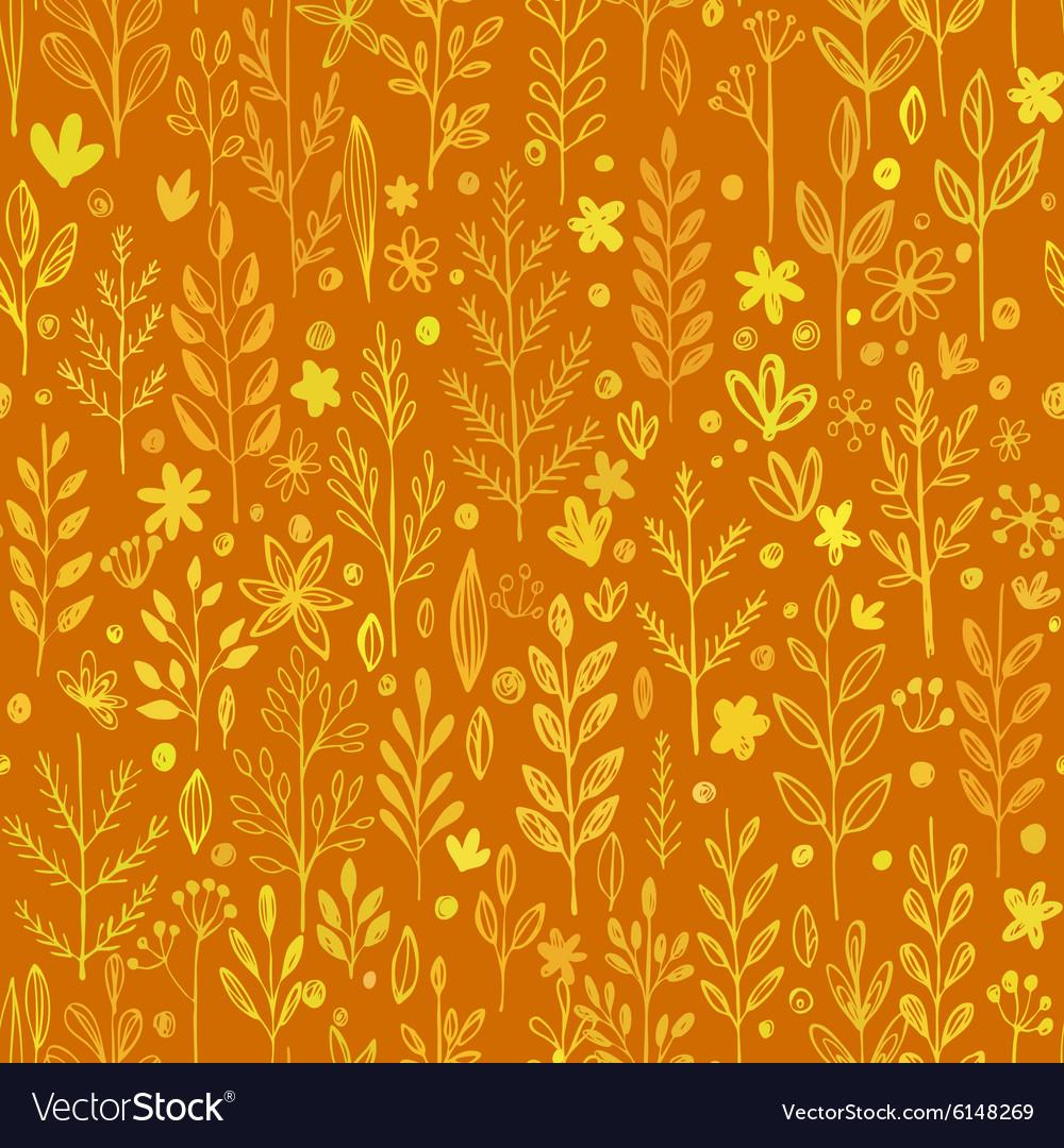 Seamless pattern doodling fall grass design