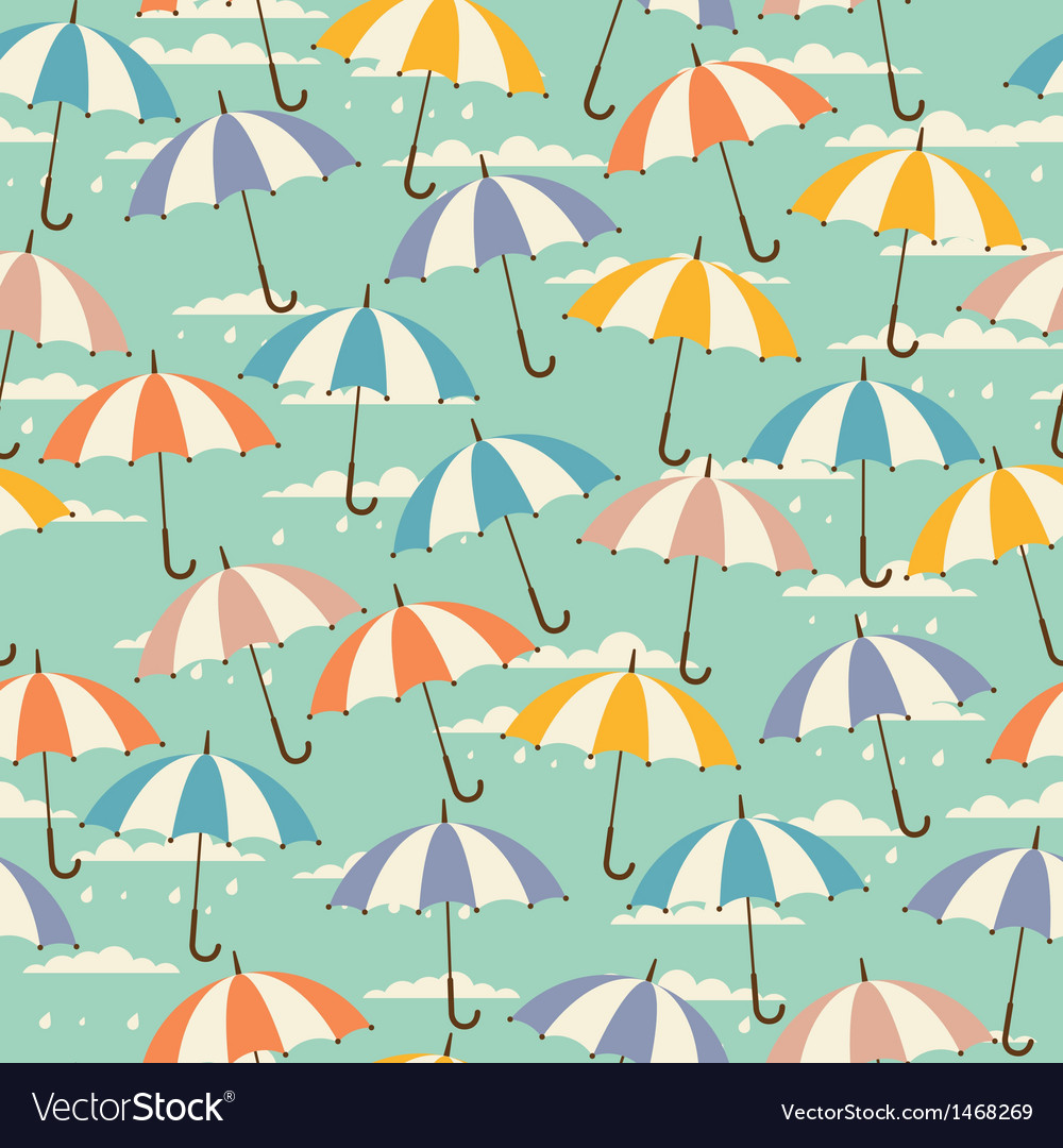 Seamless pattern in retro style with umbrellas