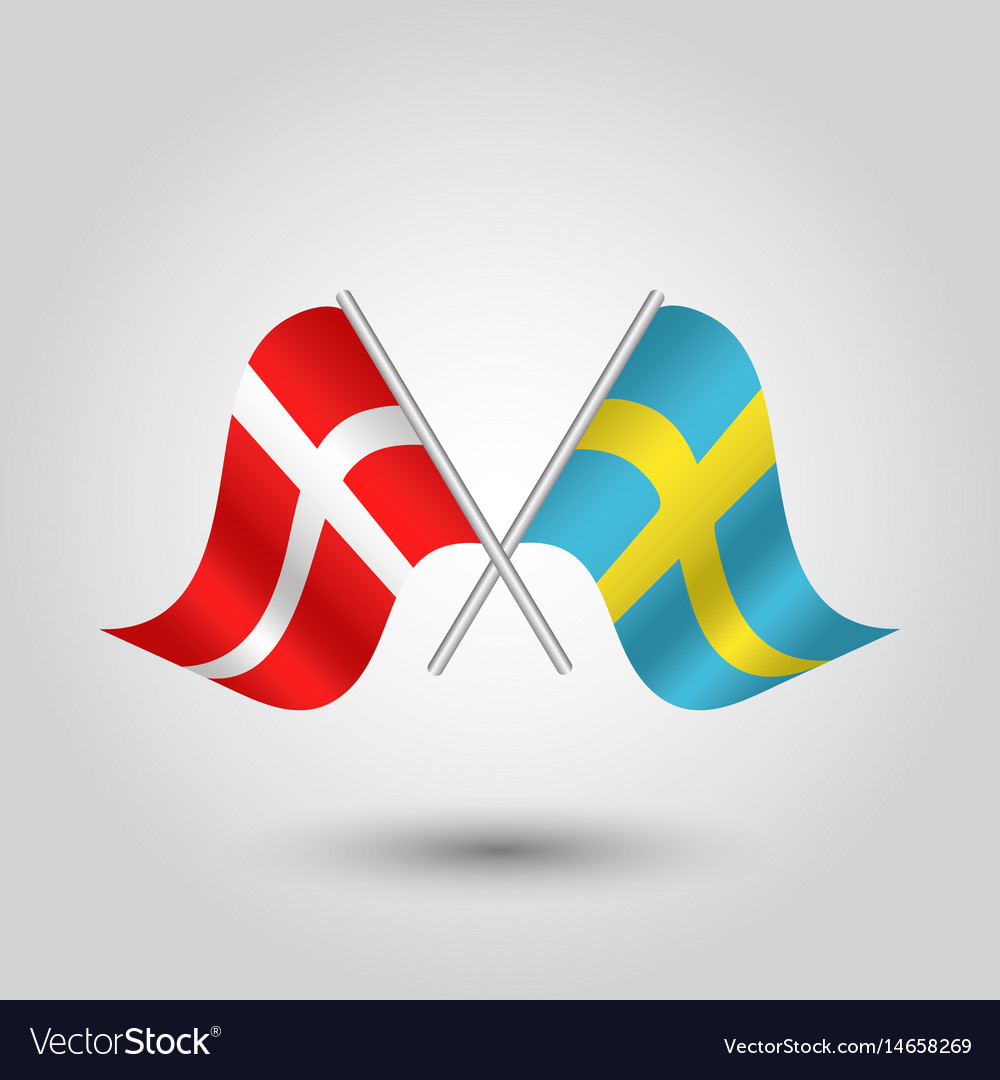 Two Crossed Danish And Swedish Flags