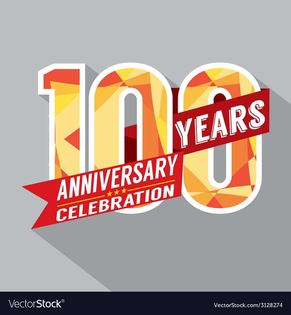 100th Years Anniversary Celebration Design vector image