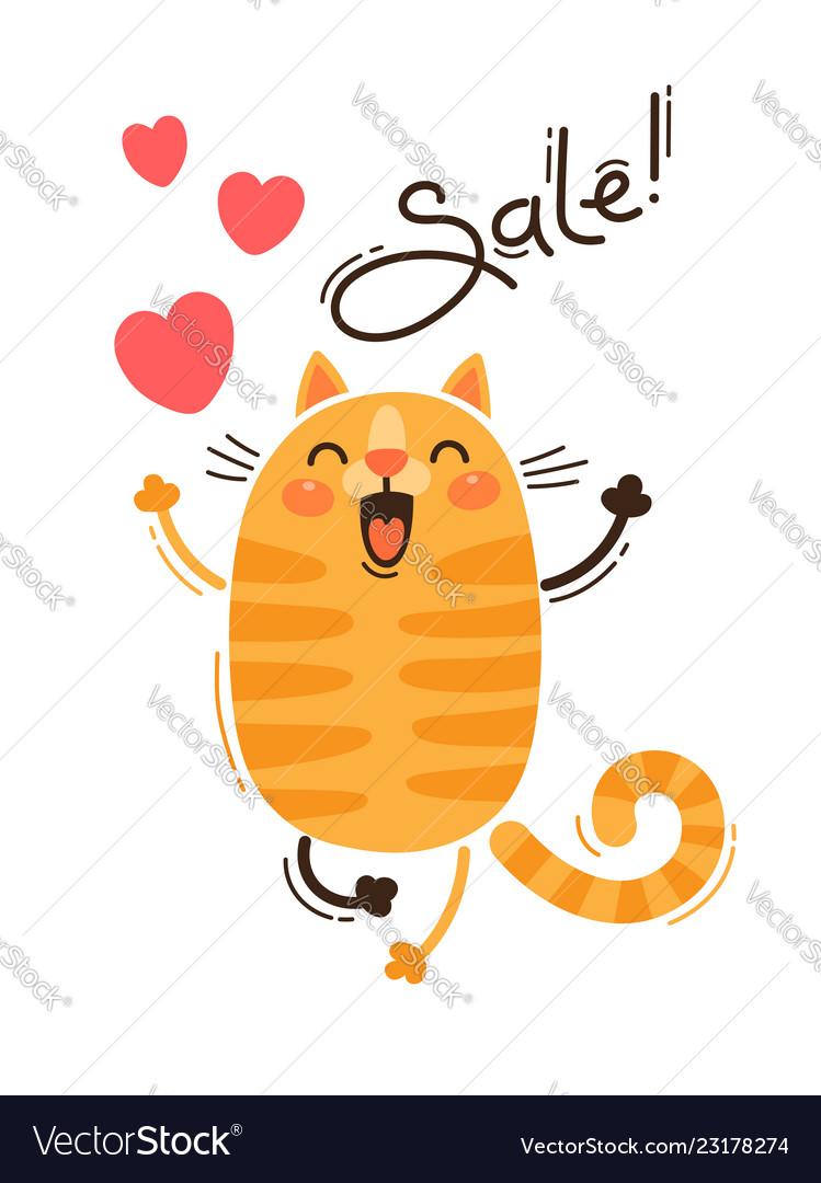 A joyful cat reports a sale