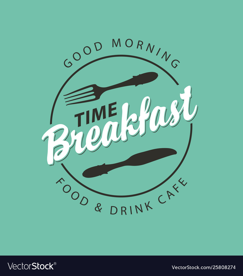Banner for breakfast time with fork and knife