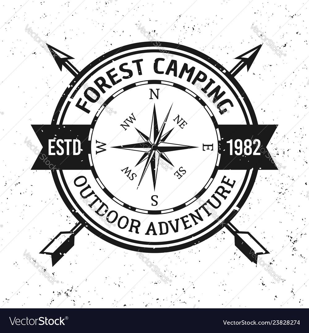 Camping and outdoor adventure retro emblem
