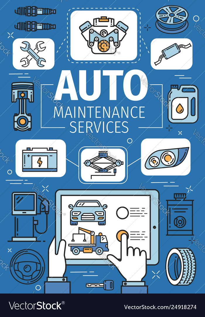 Car service motor oil and engine wheel and tyre
