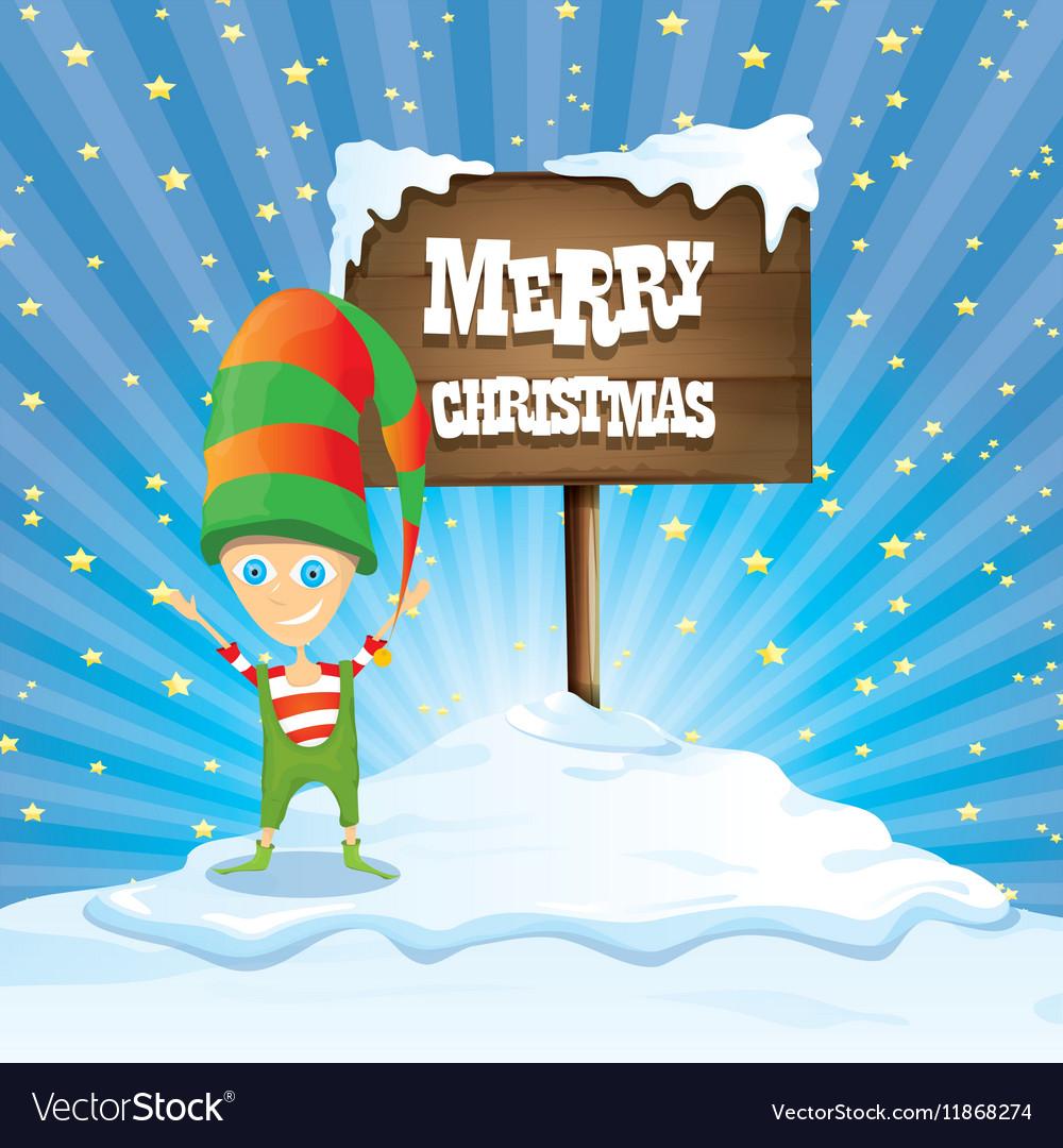 cartoon merry christmas elf on north pole vector image - Merry Christmas Elf