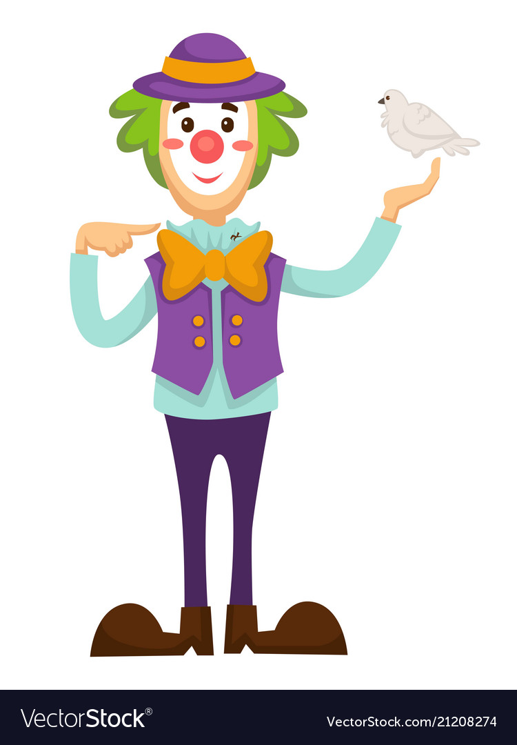 Clown circus trick with dove bird in hand