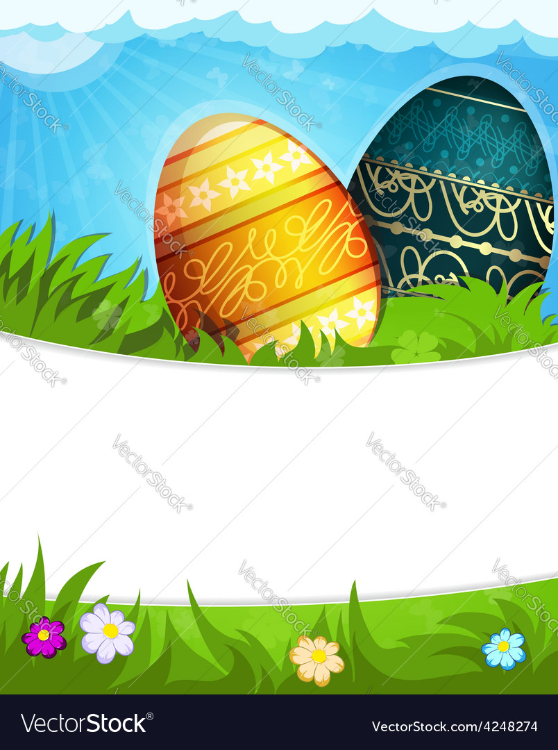 Colorful Painted Easter eggs in grass