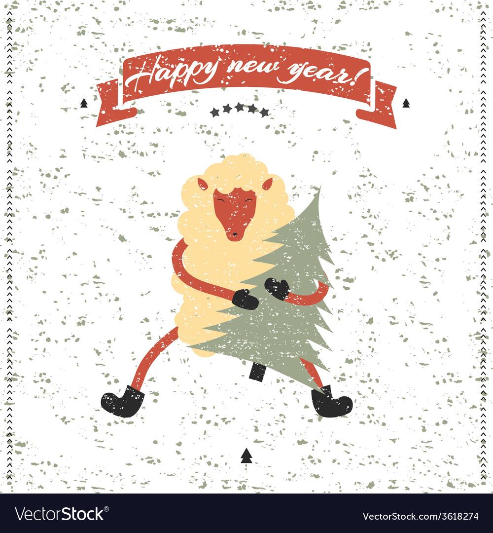 New Year and Christmas print Funny sheep Vector Image