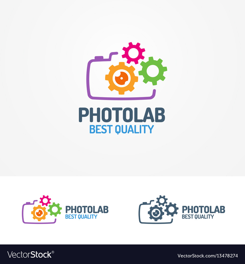 Photolab logo set with photocamera and gears