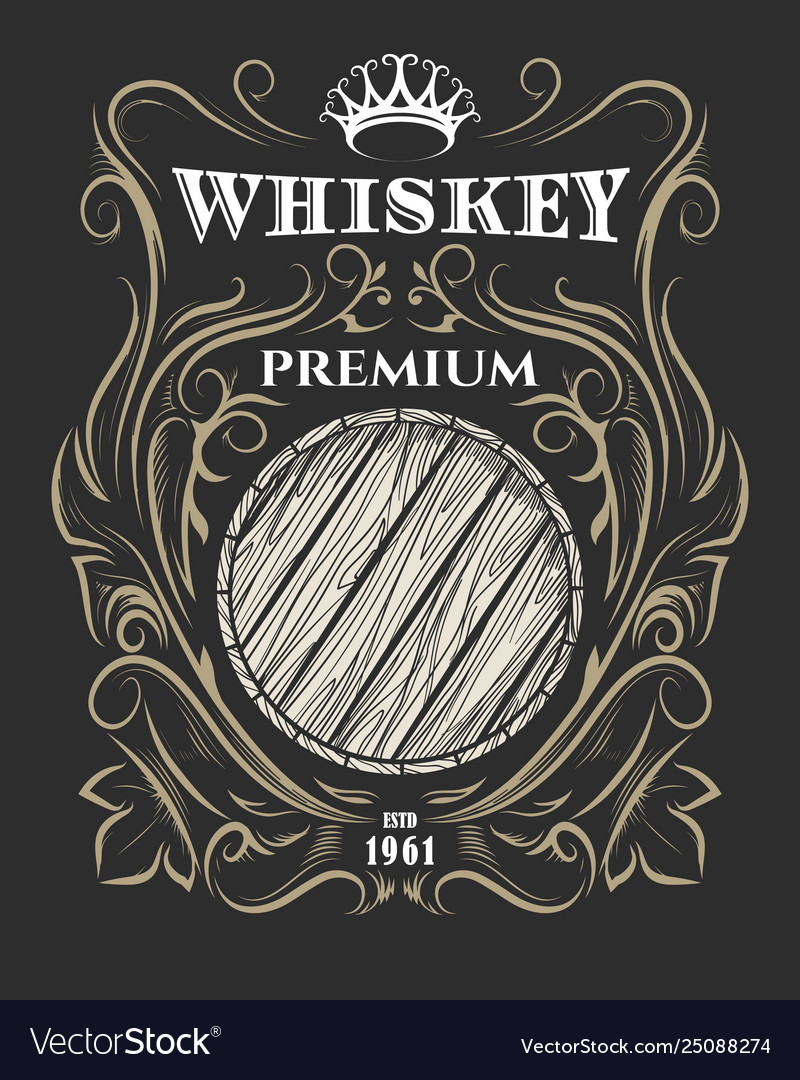 Premium whiskey label with barrel and crown