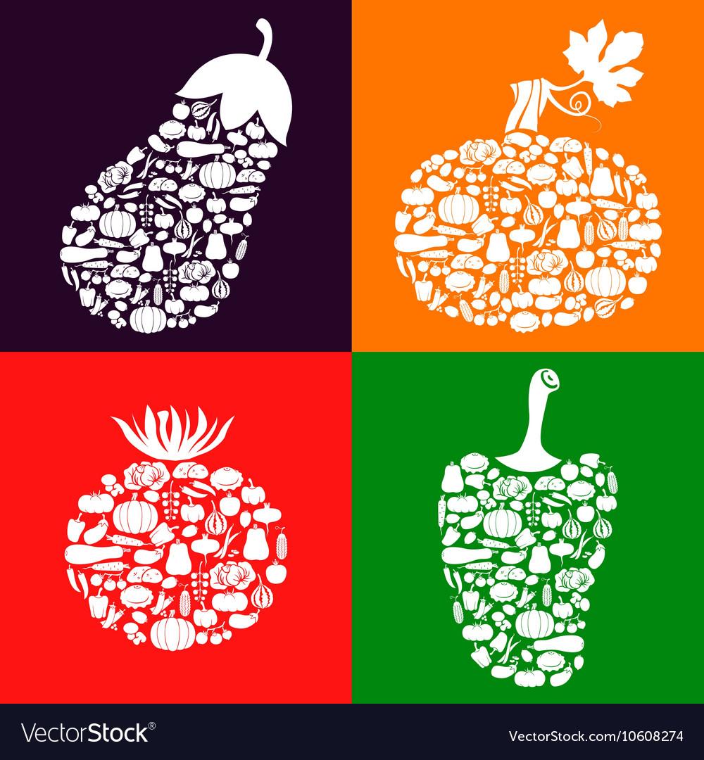 Vegetables on vegetables color vector image