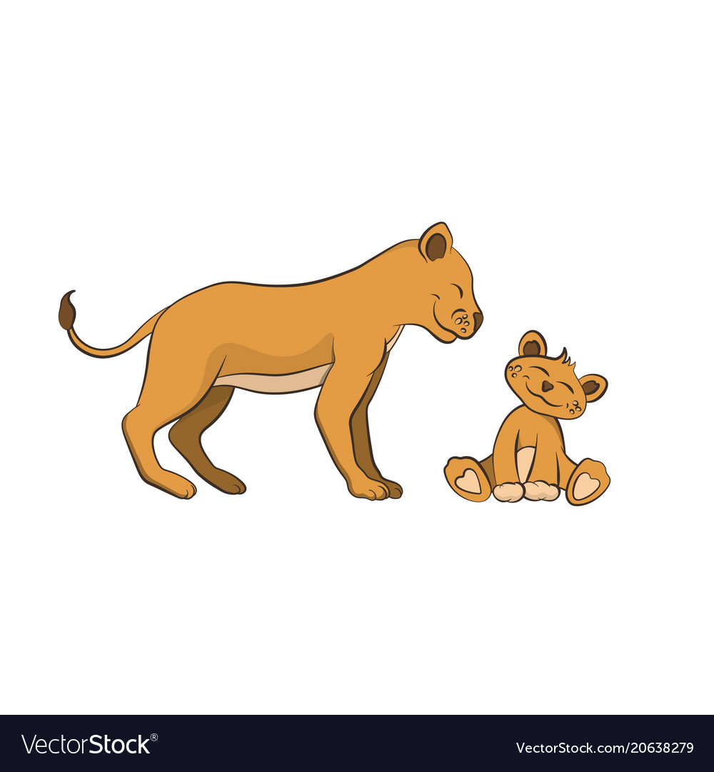 Animals of zoo the lion family in cartoon style