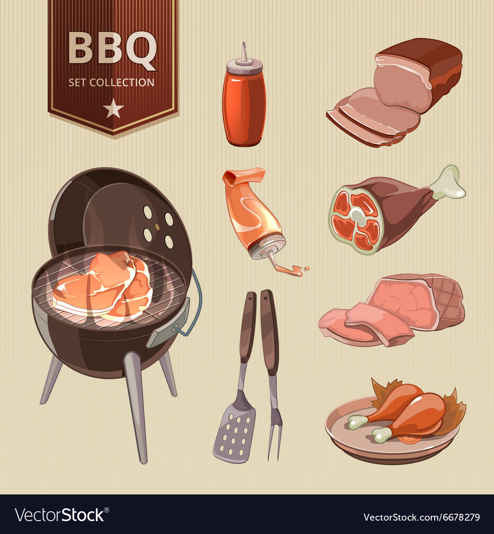 BBQ meat elements for vintage Barbecue