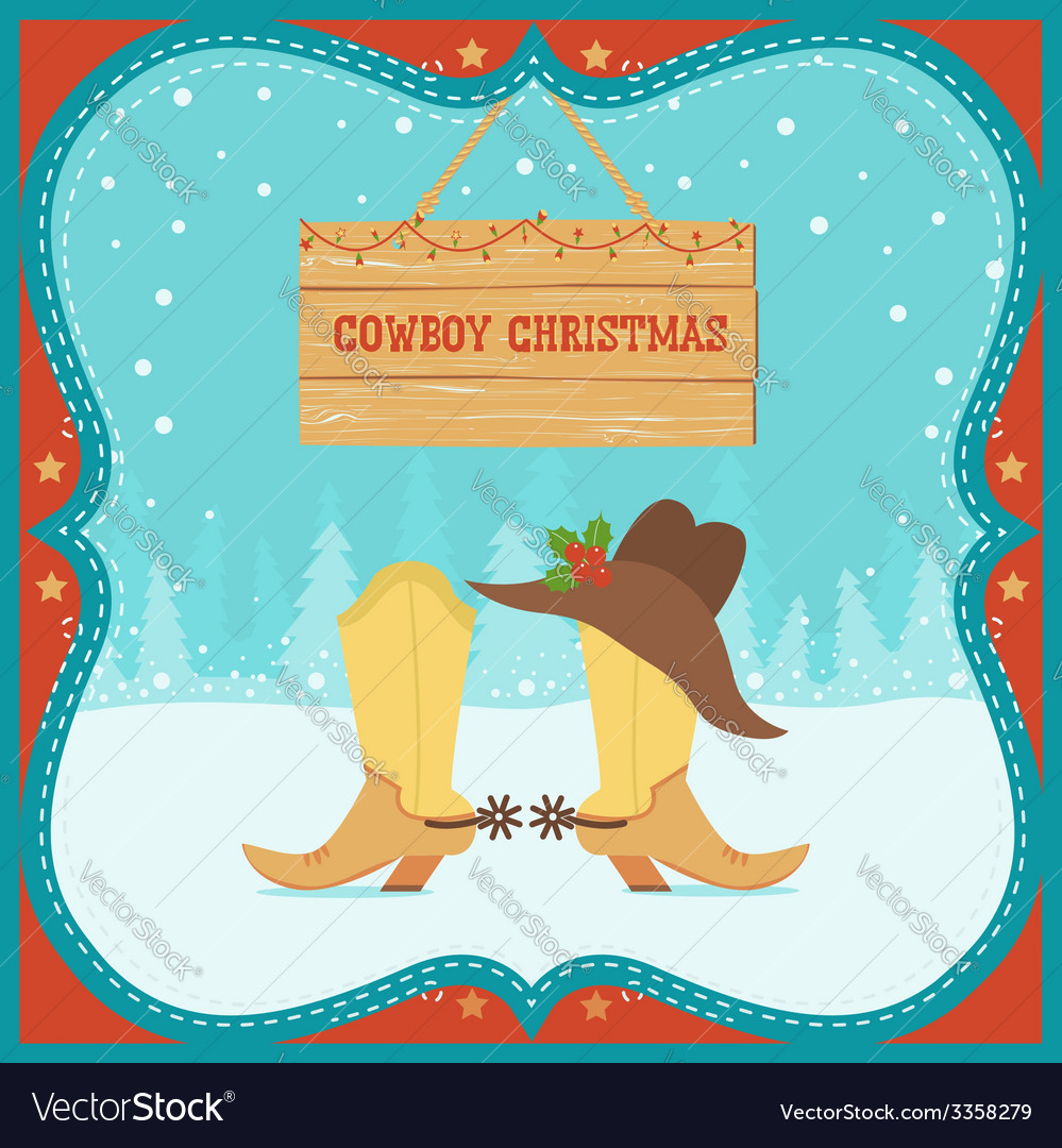 Cowboy Christmas card with western boots and hat