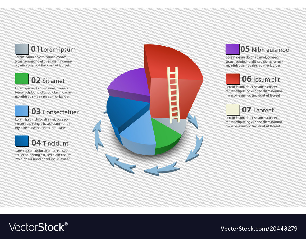 Creative Colorful 3d Pie Chart Royalty Free Vector Image