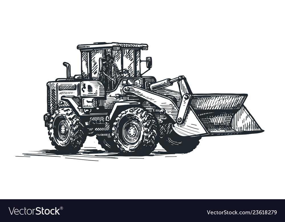 Dozer bulldozer tractor sketch excavation work