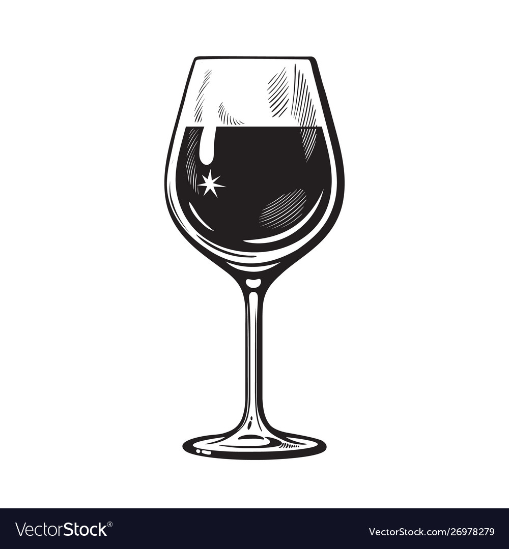 Glass wine in vintage engraving style