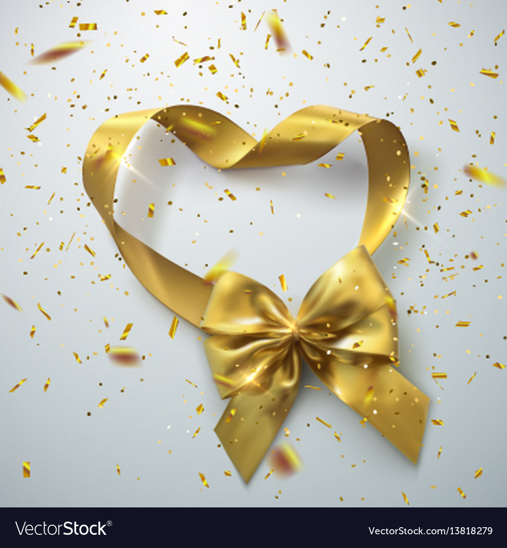 Golden bow and ribbons