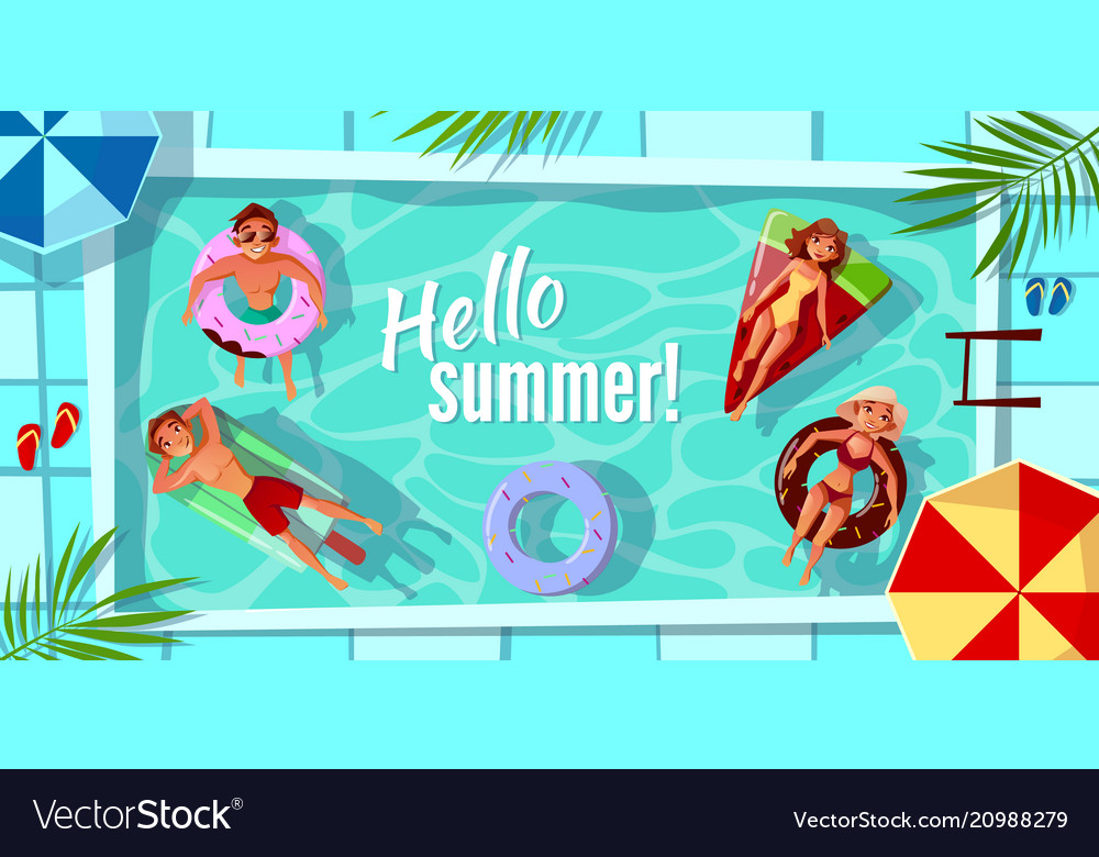 Hello summer swimming pool vector