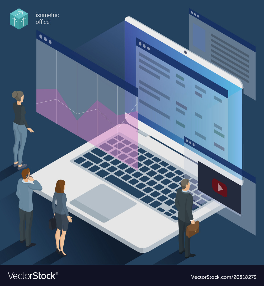 Isometric 3d flat design office work vector image