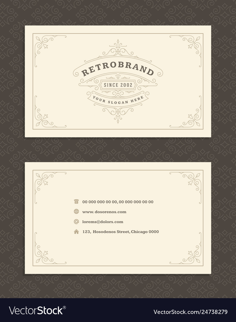 Luxury business card and vintage ornament logo