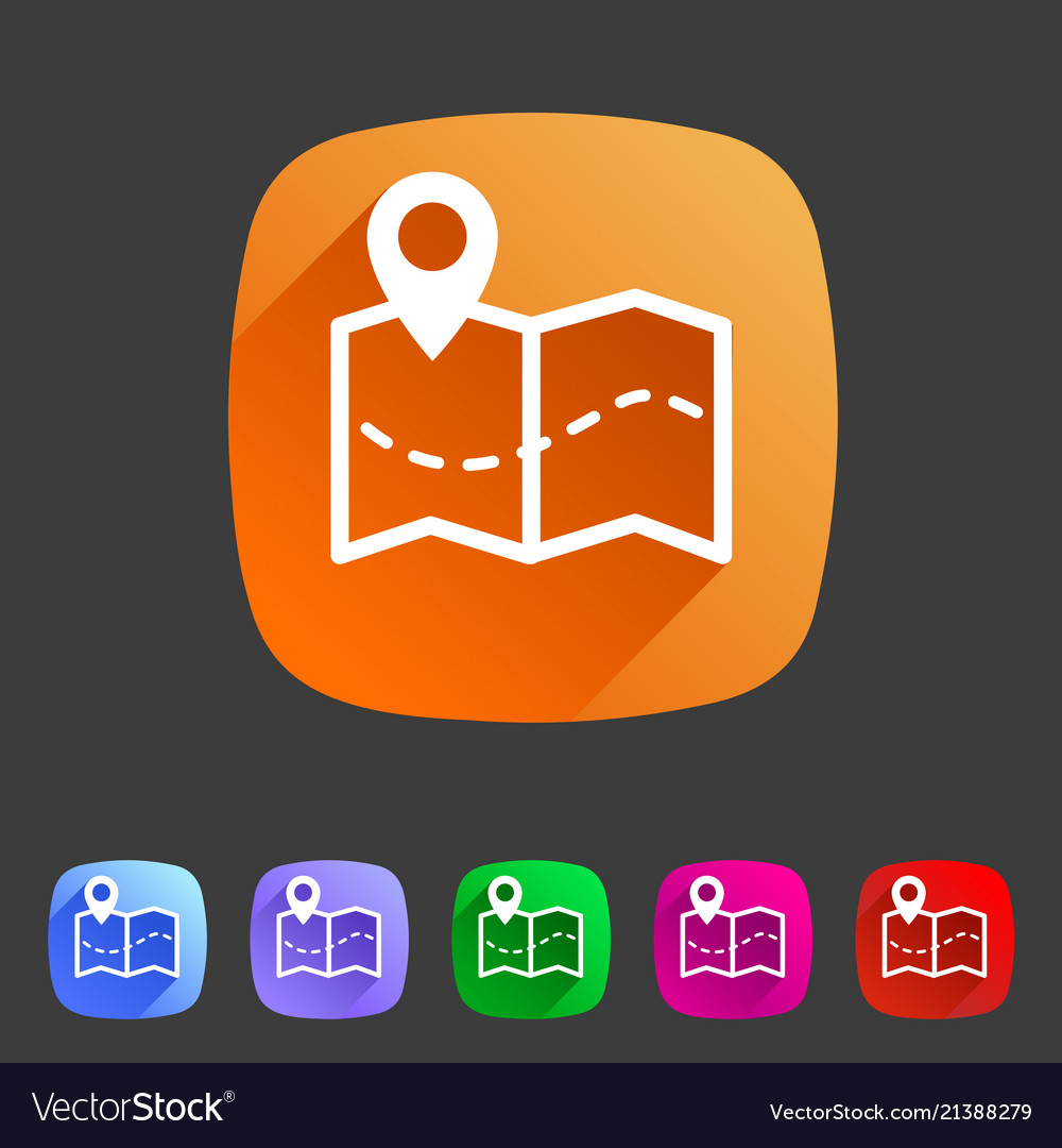 Map location pointer icon flat web sign symbol