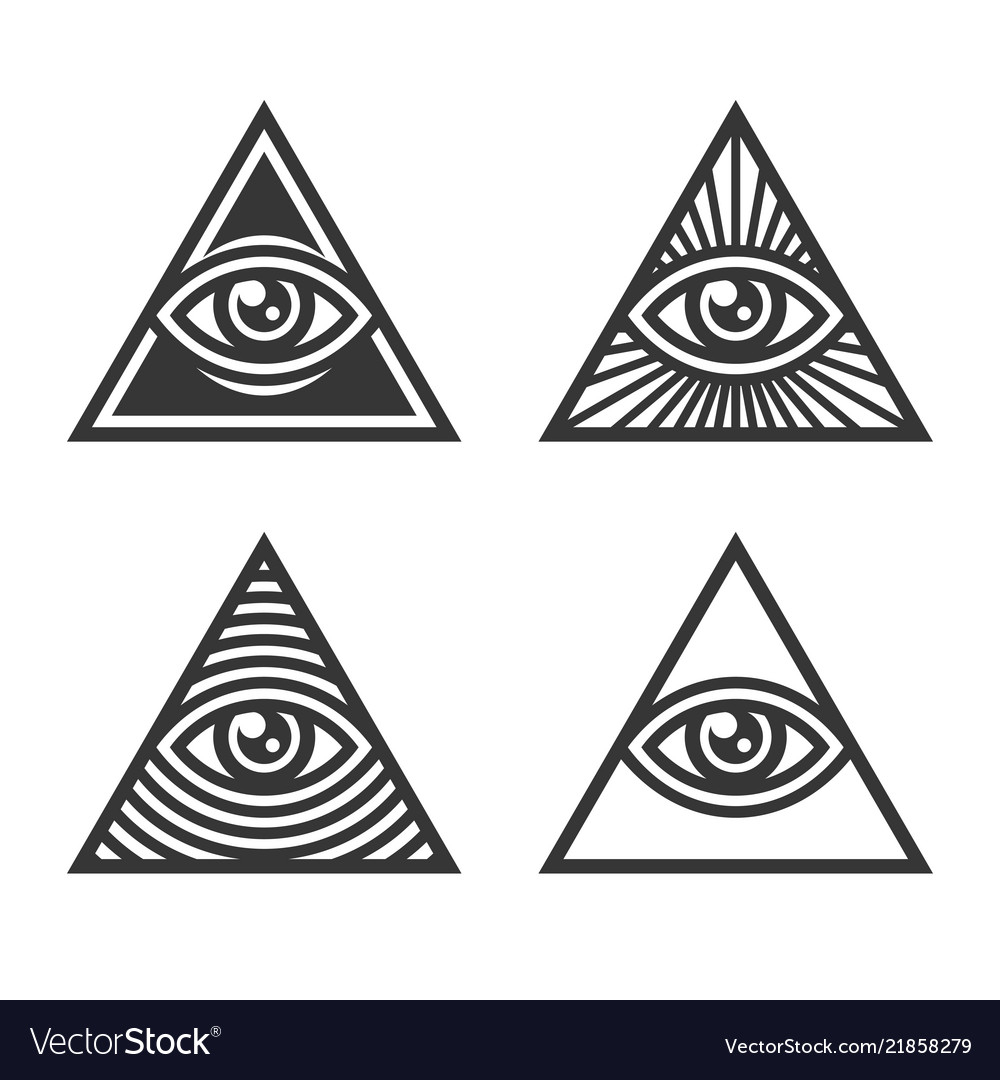 Masonic Illuminati Symbols Eye In Triangle Sign Vector Image