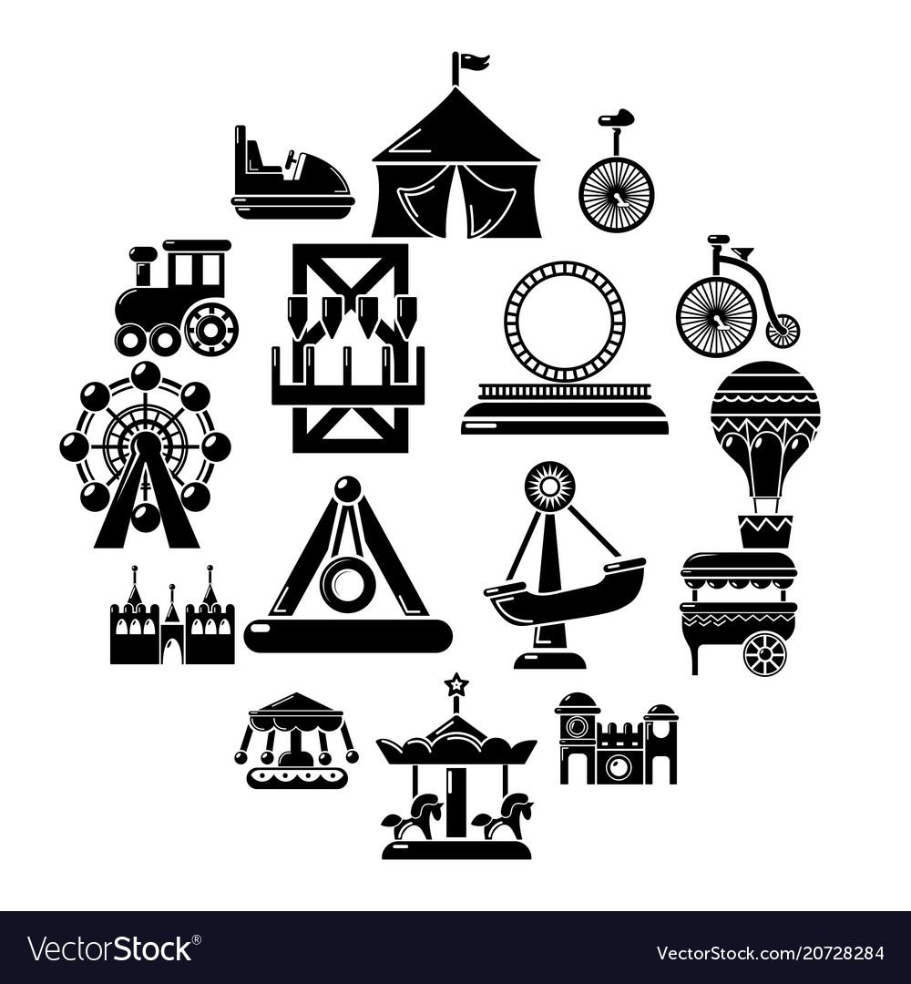 Amusement park icons set simple style