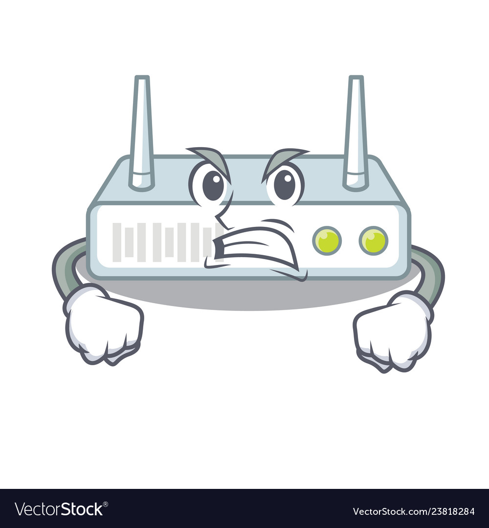 Angry router isolated with in the mascot