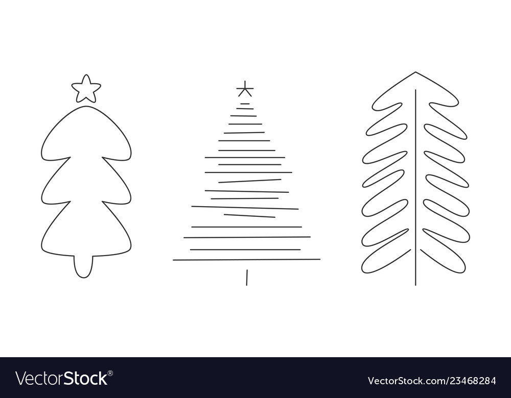 Christmas trees set hand drawn monochrome fir